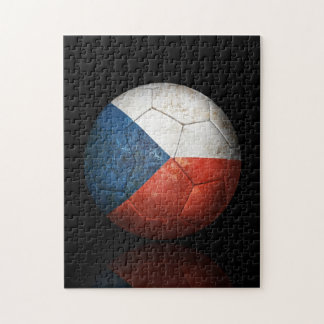Worn Czech Republic Flag Football Soccer Ball Puzzle