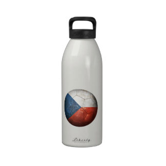 Worn Czech Republic Flag Football Soccer Ball Reusable Water Bottles