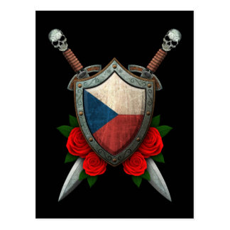 Worn Czech Republic Flag Shield with Red Roses Postcard