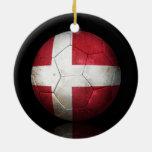 Worn Danish Flag Football Soccer Ball Christmas Tree Ornament