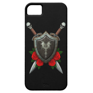 Worn Decorated Dragon Shield and Swords with Roses iPhone 5 Covers