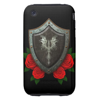 Worn Decorated Dragon Shield with Red Roses Tough iPhone 3 Case
