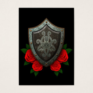 Worn Decorated Octopus Shield with Red Roses Business Card