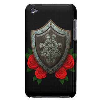 Worn Decorated Octopus Shield with Red Roses iPod Touch Case-Mate Case