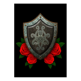 Worn Decorated Octopus Shield with Red Roses Large Business Card
