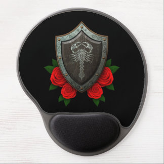 Worn Decorated Scorpion Shield with Red Roses Gel Mousepads