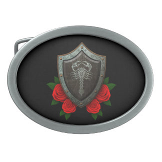 Worn Decorated Scorpion Shield with Red Roses Oval Belt Buckle