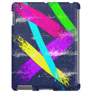 Worn Denim/colorful paint strokes pattern