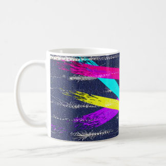 Worn Denim/colorful paint strokes pattern Coffee Mug