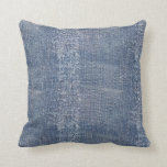 Worn Denim Jeans-Look Throw Pillow