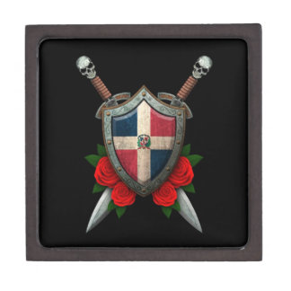 Worn Dominican Republic Flag Shield and Swords Premium Gift Boxes