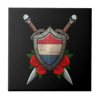 Worn Dutch Flag Shield and Swords with Roses Ceramic Tile