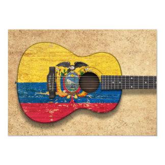 Worn Ecuadorian Flag Acoustic Guitar 5x7 Paper Invitation Card