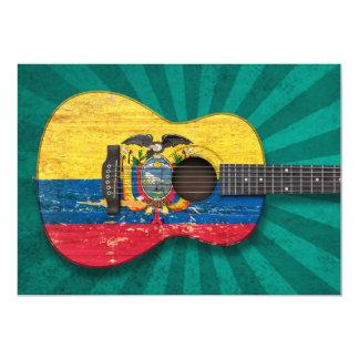 Worn Ecuadorian Flag Acoustic Guitar, teal 5x7 Paper Invitation Card