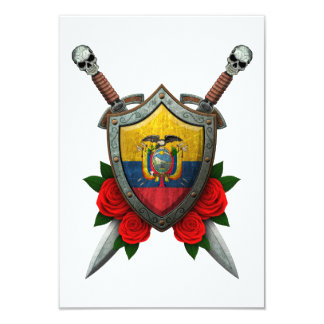 Worn Ecuadorian Flag Shield and Swords with Roses 3.5x5 Paper Invitation Card