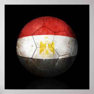 Worn Egyptian Flag Football Soccer Ball Print