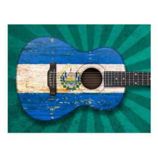 Worn El Salvador Flag Acoustic Guitar, teal Postcard