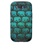 Worn Elephant Silhouettes Pattern, blue Samsung Galaxy S3 Covers