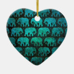 Worn Elephant Silhouettes Pattern, blue Double-Sided Heart Ceramic Christmas Ornament