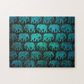 Worn Elephant Silhouettes Pattern, blue Jigsaw Puzzle
