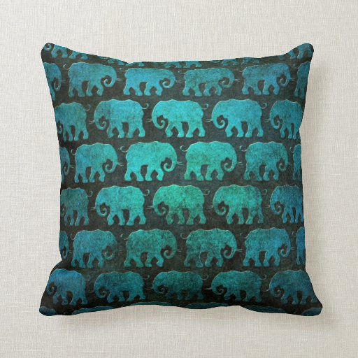 Worn Elephant Silhouettes Pattern, blue Pillow