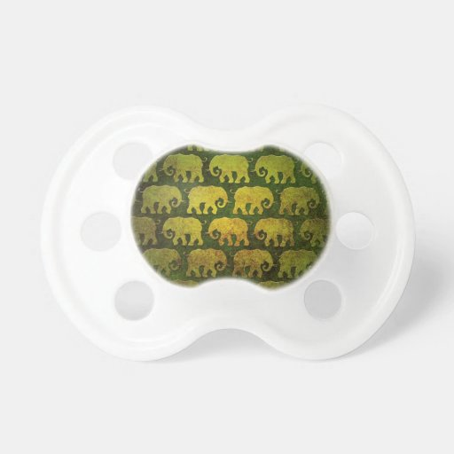 Worn Elephant Silhouettes Pattern, green Pacifier