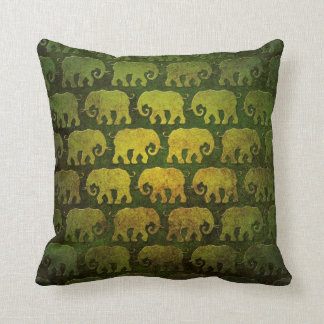 Worn Elephant Silhouettes Pattern, green Throw Pillow