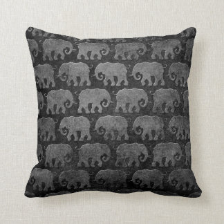 Worn Elephant Silhouettes Pattern, grey Throw Pillow