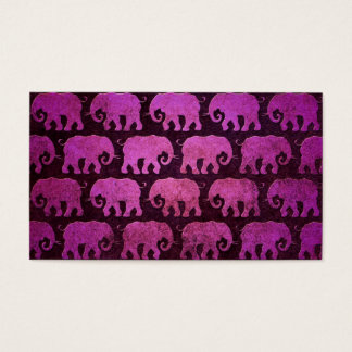 Worn Elephant Silhouettes Pattern, purple Business Card