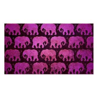 Worn Elephant Silhouettes Pattern, purple Business Card Templates
