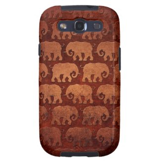 Worn Elephant Silhouettes Pattern, reddish brown