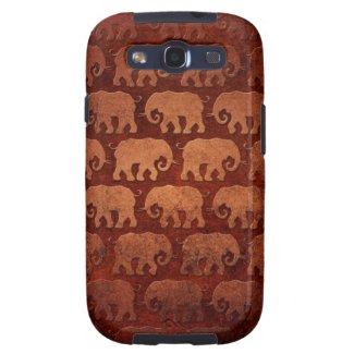 Worn Elephant Silhouettes Pattern, reddish brown