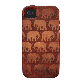 Worn Elephant Silhouettes Pattern, reddish brown Case-Mate iPhone 4 Cases