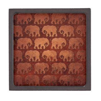 Worn Elephant Silhouettes Pattern, reddish brown Keepsake Box
