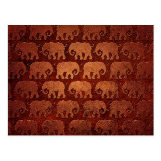 Worn Elephant Silhouettes Pattern, reddish brown Postcard