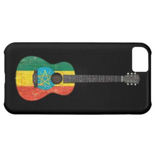 Worn Ethiopian Flag Acoustic Guitar, black iPhone 5C Case
