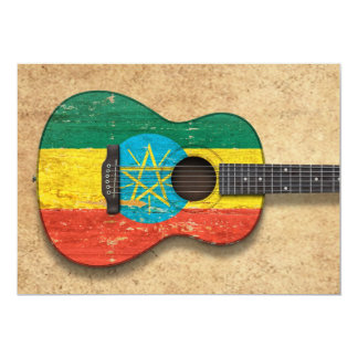 Worn Ethiopian Flag Acoustic Guitar Card