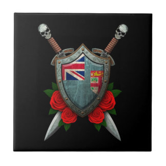 Worn Fiji Flag Shield and Swords with Roses Ceramic Tiles