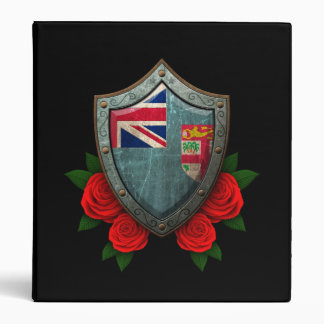 Worn Fiji Flag Shield with Red Roses 3 Ring Binder