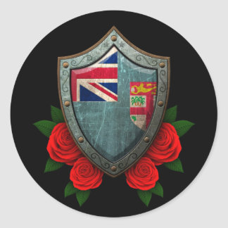 Worn Fiji Flag Shield with Red Roses Classic Round Sticker