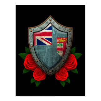 Worn Fiji Flag Shield with Red Roses Postcard