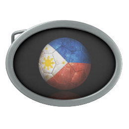 Worn Filipino Flag Football Soccer Ball Oval Belt Buckle