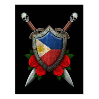 Worn Filipino Flag Shield and Swords with Roses Postcard