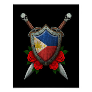 Worn Filipino Flag Shield and Swords with Roses Poster