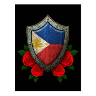 Worn Filipino Flag Shield with Red Roses Postcard
