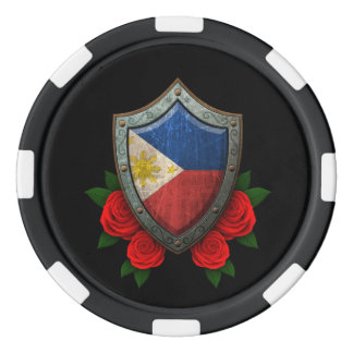 Worn Filipino Flag Shield with Red Roses Set Of Poker Chips