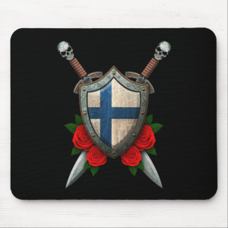 Worn Finnish Flag Shield and Swords with Roses Mouse Pad