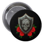 Worn Floral Sugar Skull Shield with Red Roses Pin