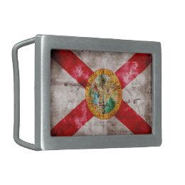 Worn Florida Flag Rectangular Belt Buckle