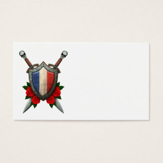 Worn French Flag Shield and Swords with Roses Business Card